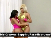 Stunning Blonde And Brunette Lesbians Kissing And..