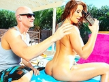 Brunette Milf in bikini fucks pool boy outdoors after her massage