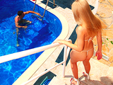 Hot young blonde euro babe in bikini has wet pussy fucked outdoor