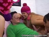 Three College Sluts Sucking One Cock Toge ...
