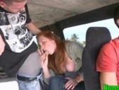 Amateur Redhead Slut Plays With Dick On The Hump Bus